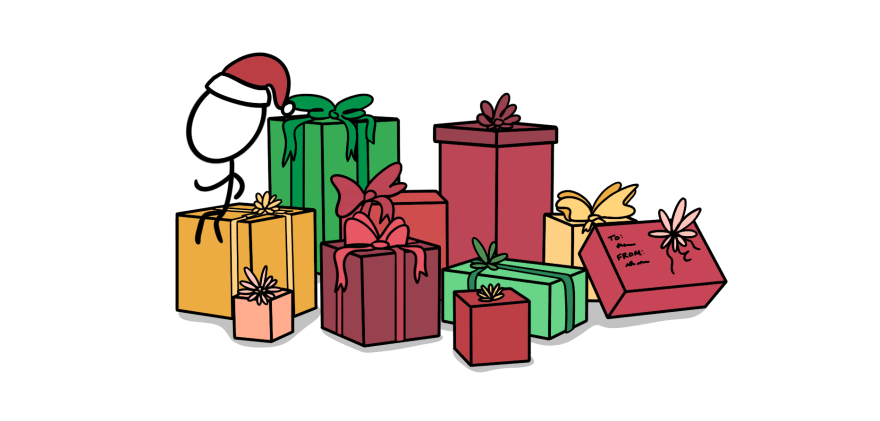 An illustration of santa sitting on a pile of presents