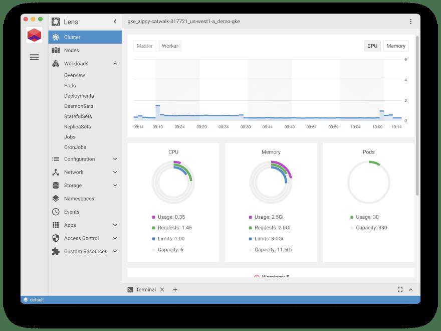 Screenshot showing the metrics dashboard in Lens