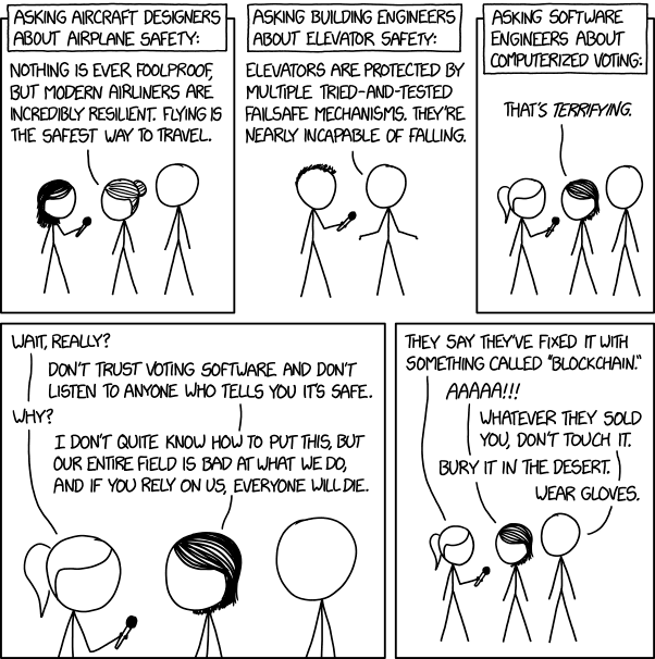 XKCD cartoon where software engineers explain they wouldn't trust software to vote