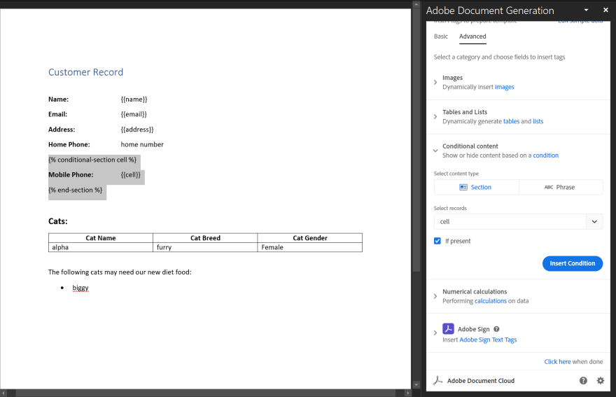 Conditional Logic added