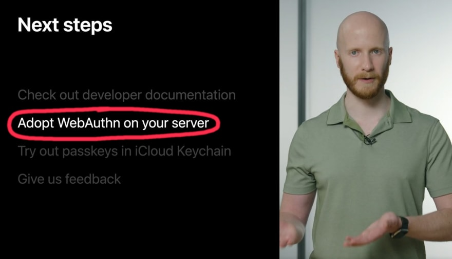 Screenshot of Apple's video, showing the phrase Adopt WebAuthn on your server
