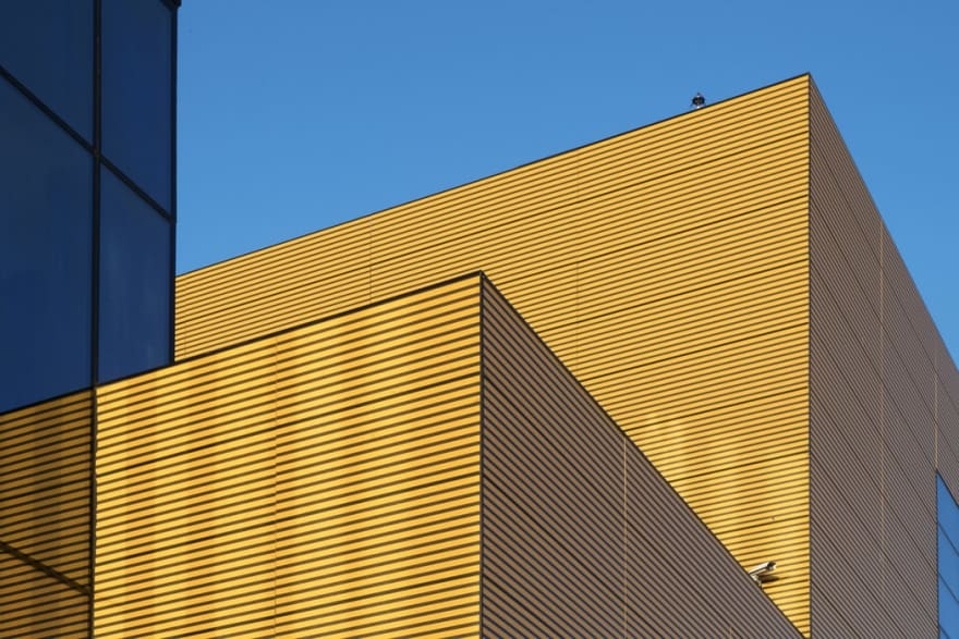 Blue and yellow IKEA building