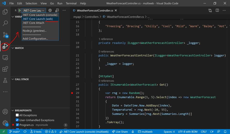 Web API in Debug Panel