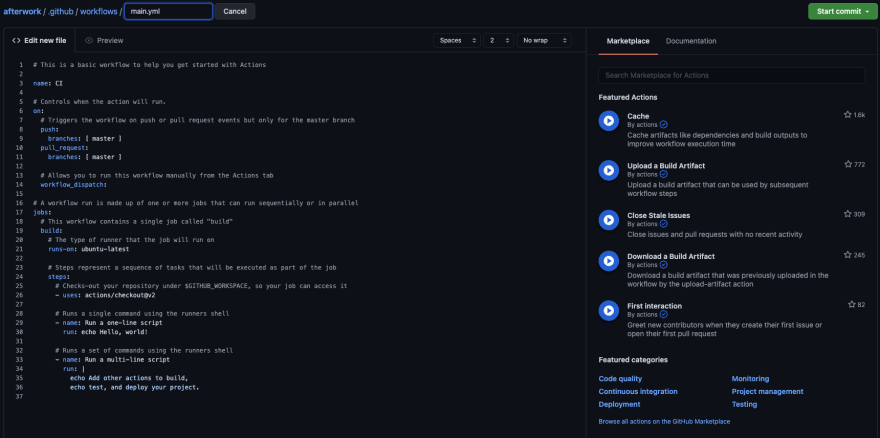 GitHub Workflow details