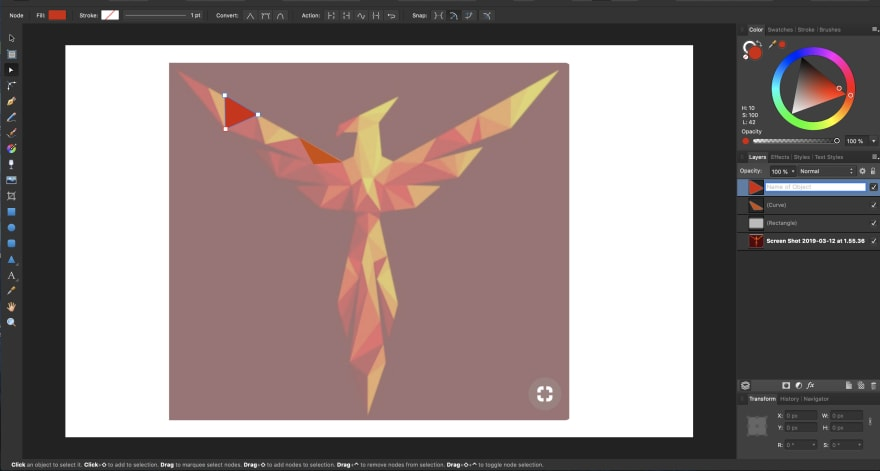 Tracing over SVG in Affinity Designer with Pen tool