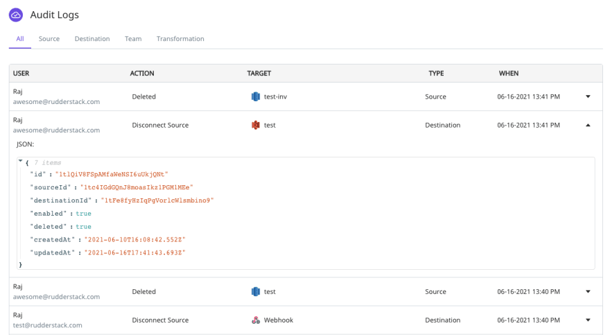 Enterprise users can now access audit logs that include detailed changes for sources, destinations, transformations, and users.