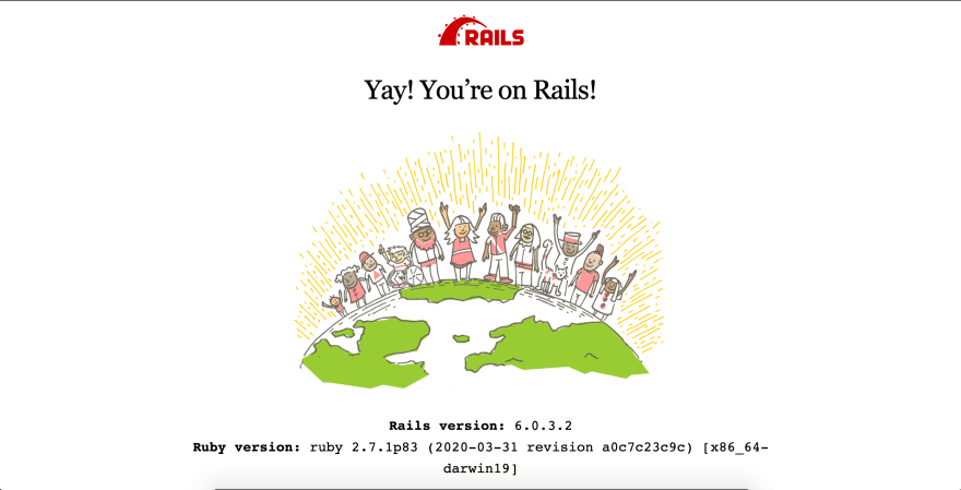 "Ruby on Rail's start page with ""Yay! You're on Rails!"" written on it followed by an illustration of people standing on planet Earth."