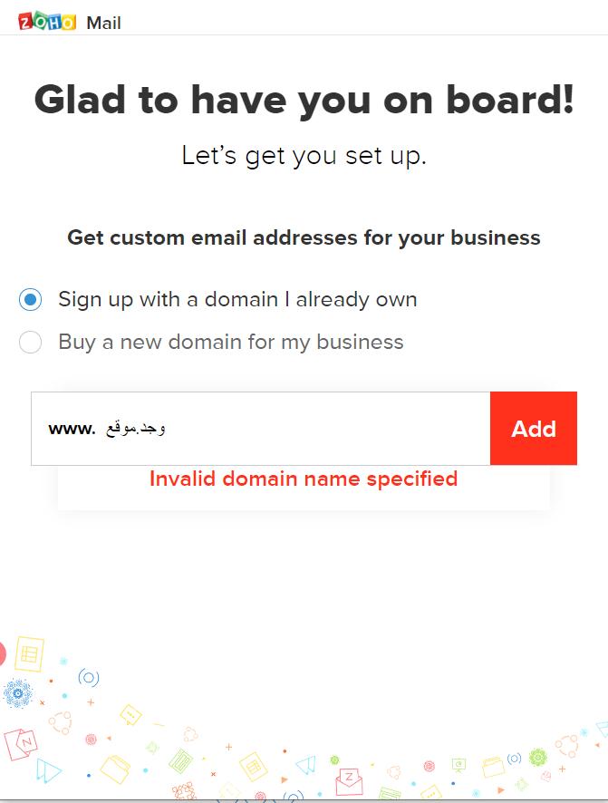 Zoho Mail - Unicode sign up