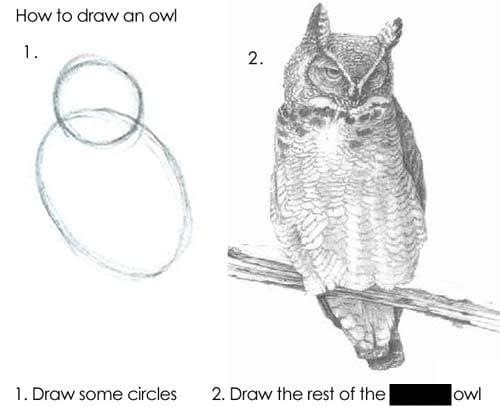 Draw an owl in 2 steps meme