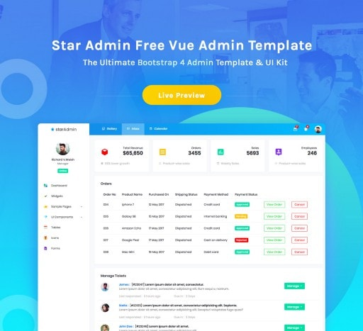 Vue Template — Star Admin, free Vue starter provided by BootstrapDash.