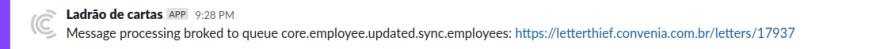 imagem de notificação de mensagem quebrada no slack