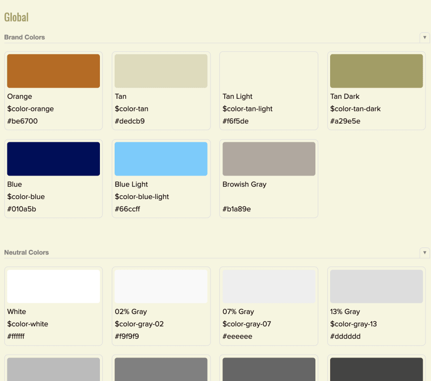 The color swatches from Brad Frost's pattern lab