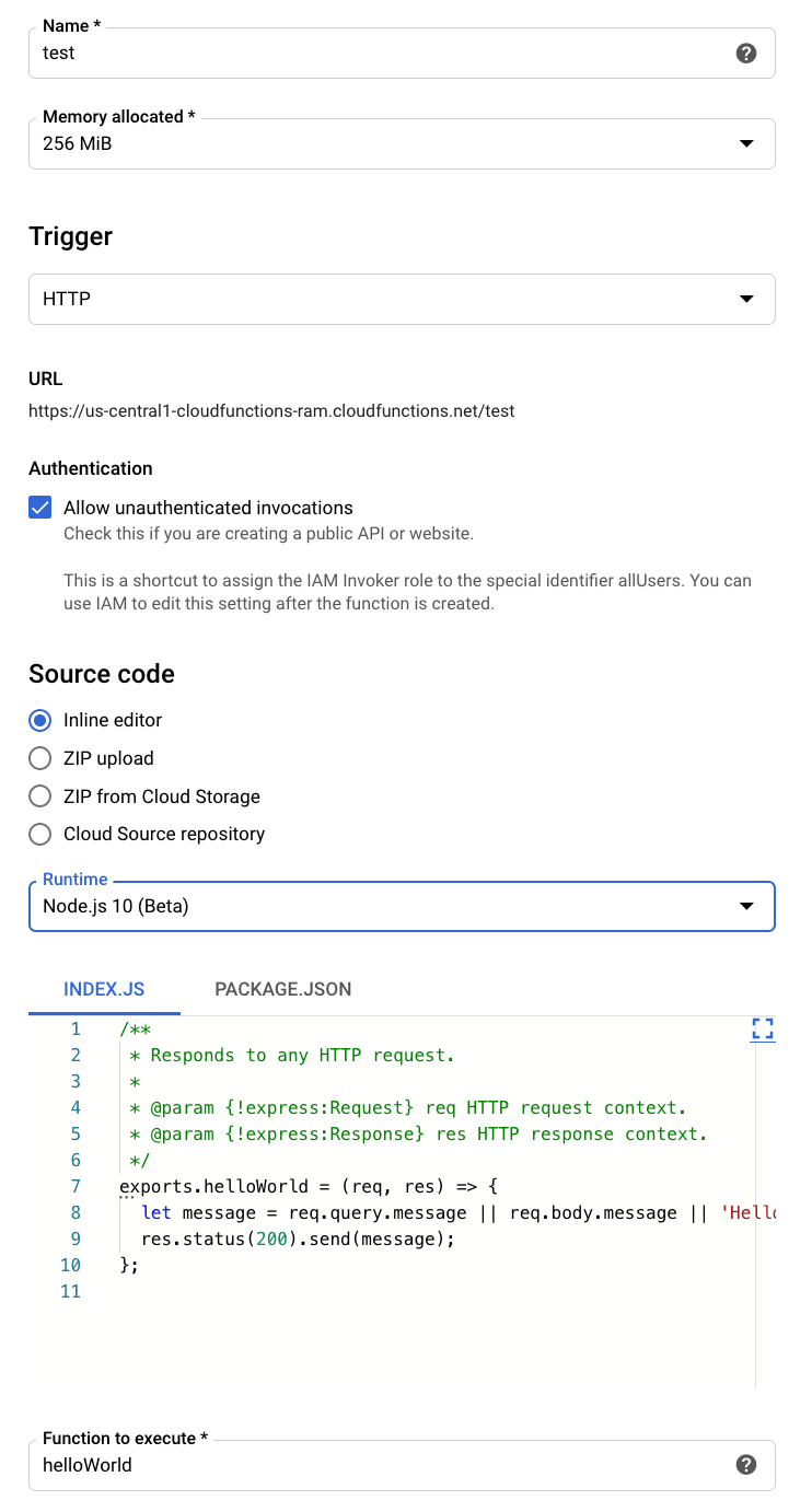 Options for creating cloud function in GCP console