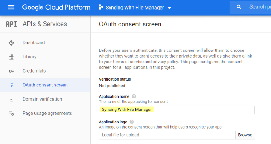 Provide the application name, and click Save.