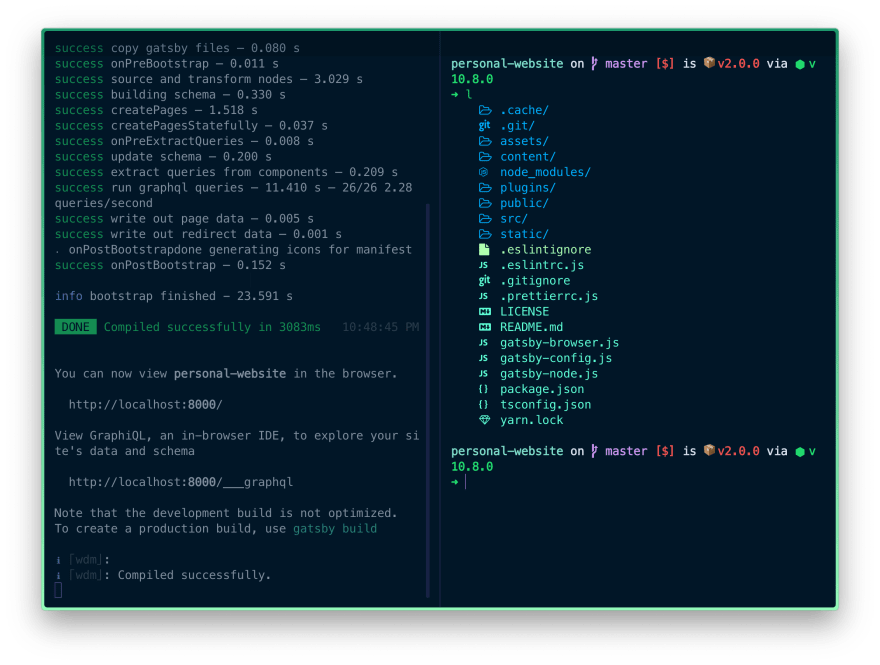 Splitting the current terminal interface into 2 vertical panes.