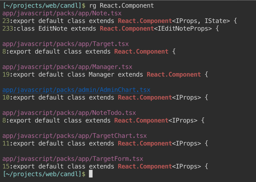 Searching for a React component with ripgrep