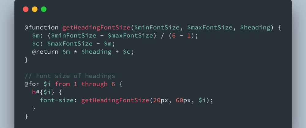 Cover image for Sass / SCSS function to generate headings between min and max font-size