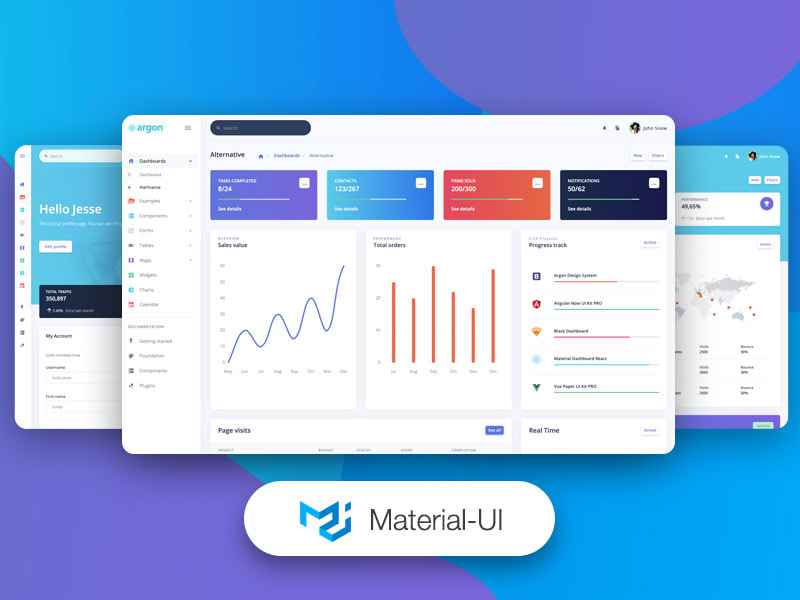 Argon Dashboard Material-UI - Open-source dashboard template for React and Material UI.