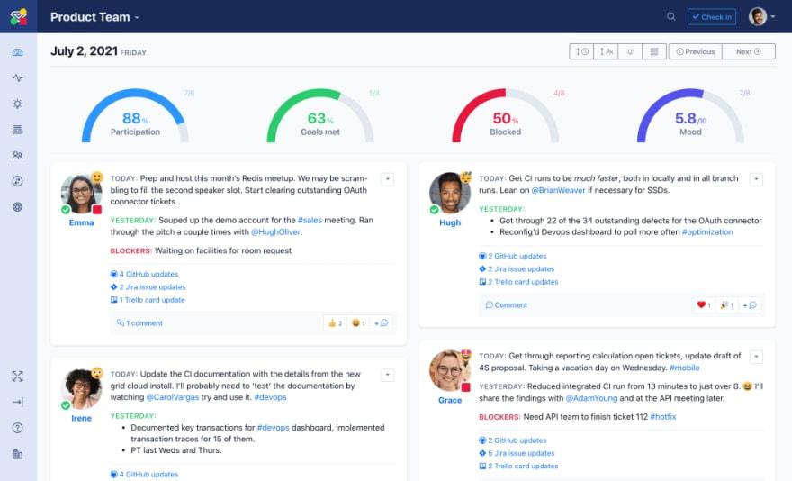 The Status Hero dashboard