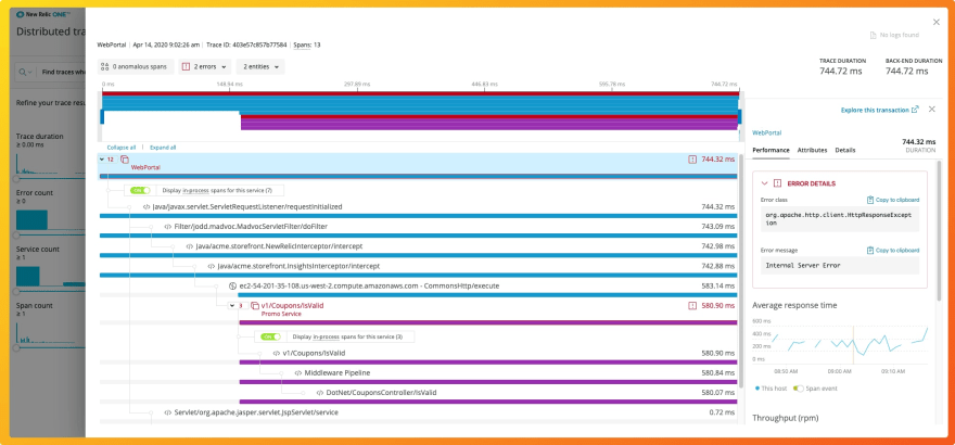 New Relic distributed tracing dashboard