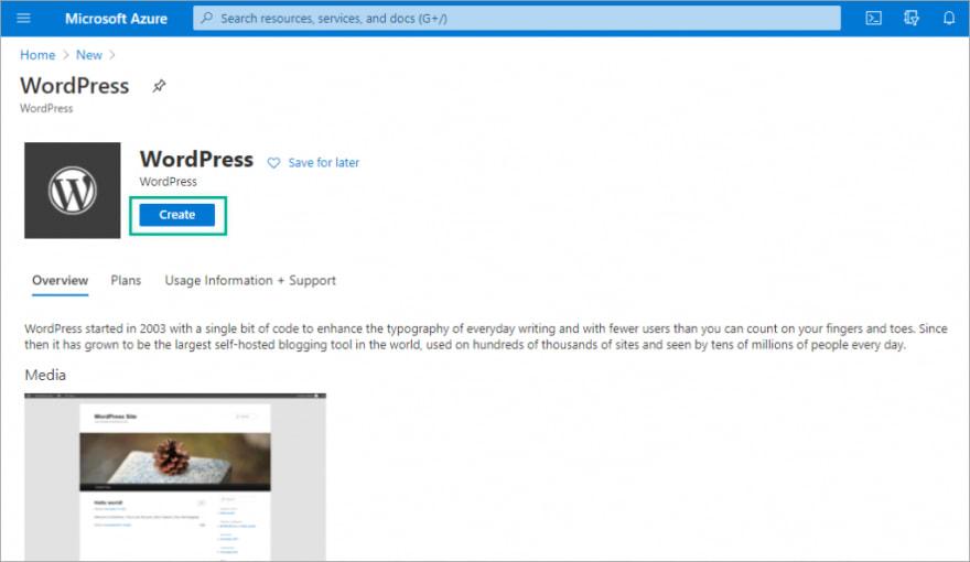 Create WordPress app on Azure