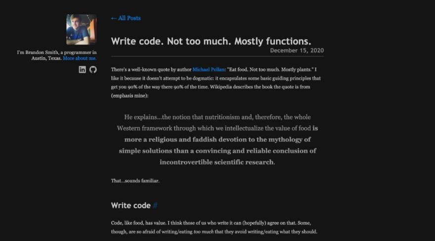 Write code. Not too much. Mostly functions.