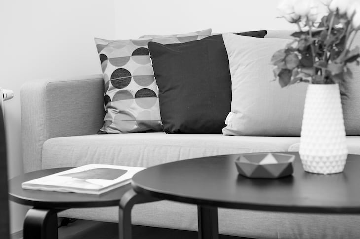 Grayscale Image of a Sofa, Coffee Table, and Pillows
