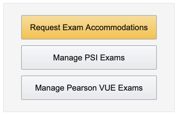 Certmetrics request exam accommodation button