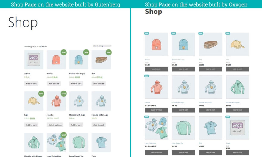 The Shop Archive Pages on two website