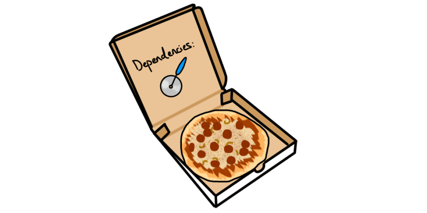A pizza pie in a box with a pizza slicer dependency