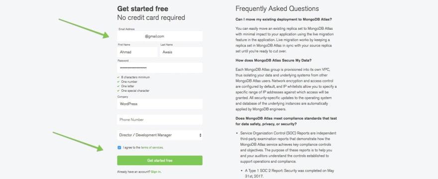 2 MongoDB Atlas Signup