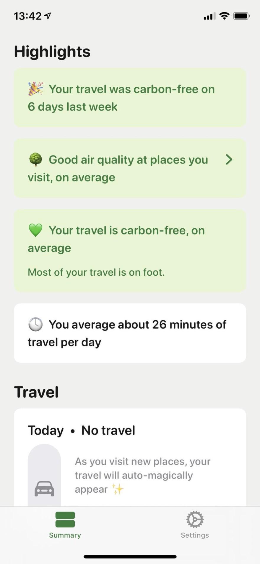 Travel summary screen of the iOS app