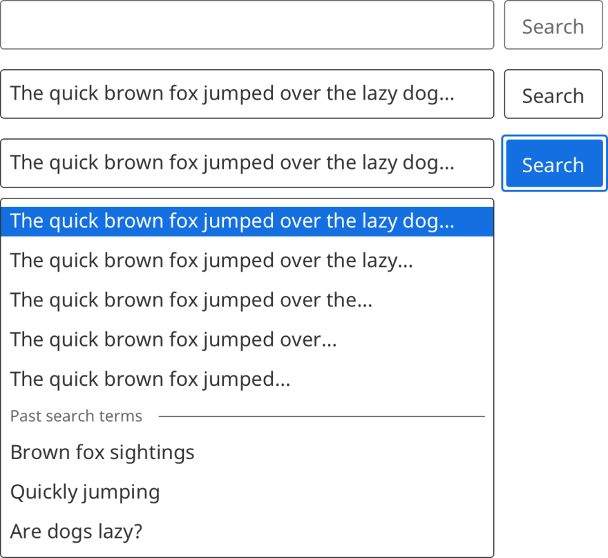 A column of search bar components, with different states visible in respective search components