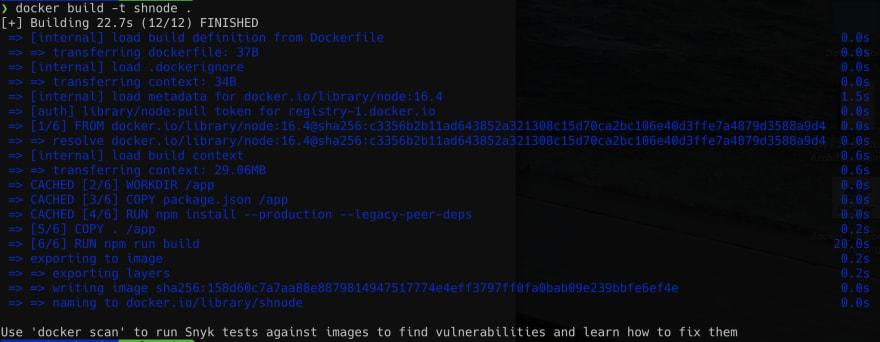 Docker build command output