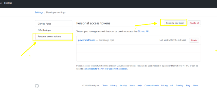 Personal access tokens  after click on Generate new token
