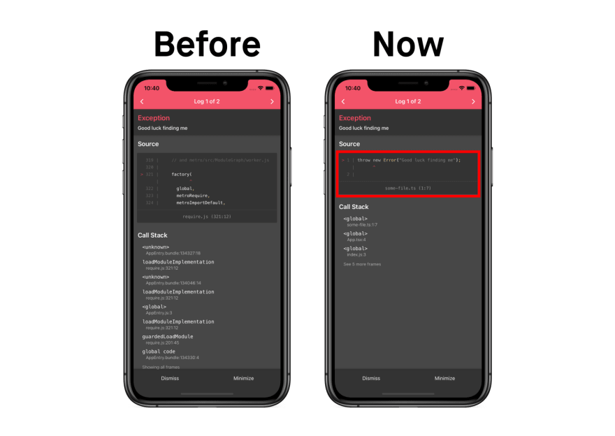 before and after screenshots of error log