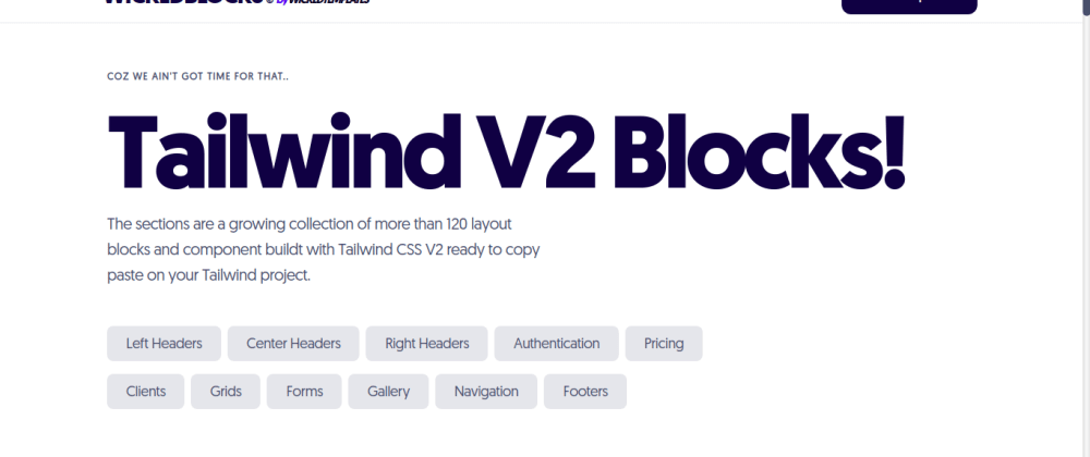 Cover Image for Working on more than 120 free Tailwind V2 Blocks!
