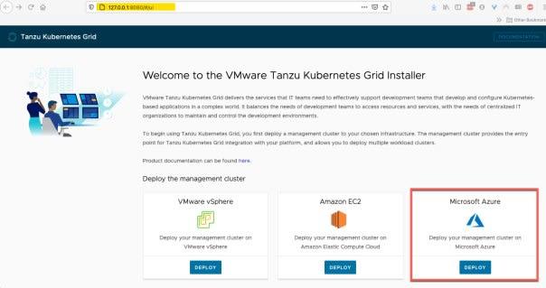TKG UI - Deploy a management cluster on Microsoft Azure