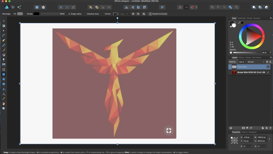 Screenshot and layer overlay in Affinity designer