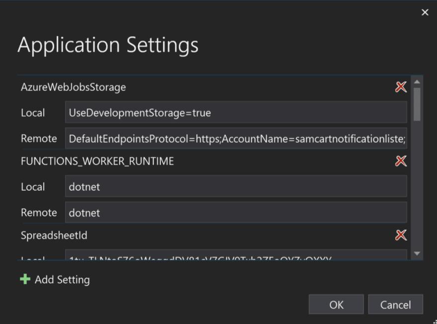 The Azure Function app settings publish dialog