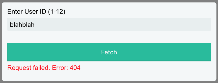 Display error message when request fails