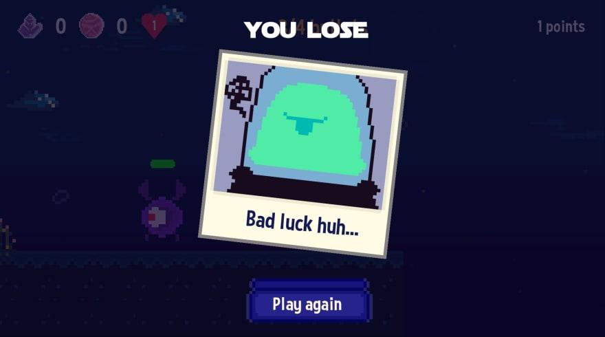 Space Walk gameplay lose screen