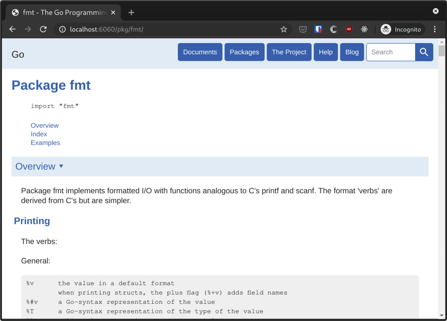Local Go package documentation for fmt in Chrome