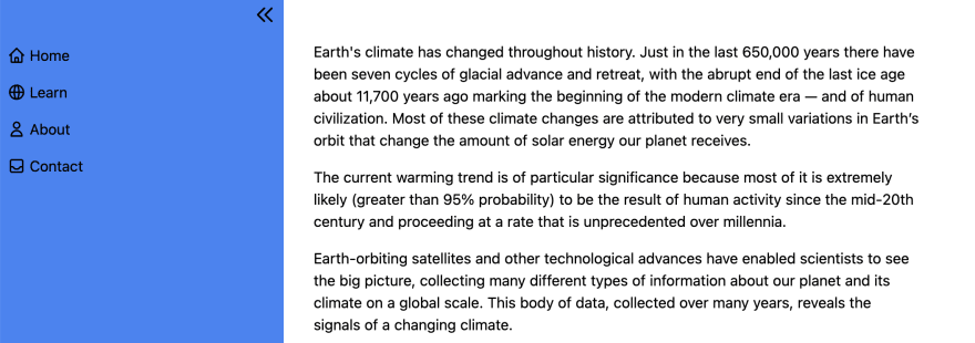 A screen shot of a web page with a blue sidebar displaying links and main content discussing global warming