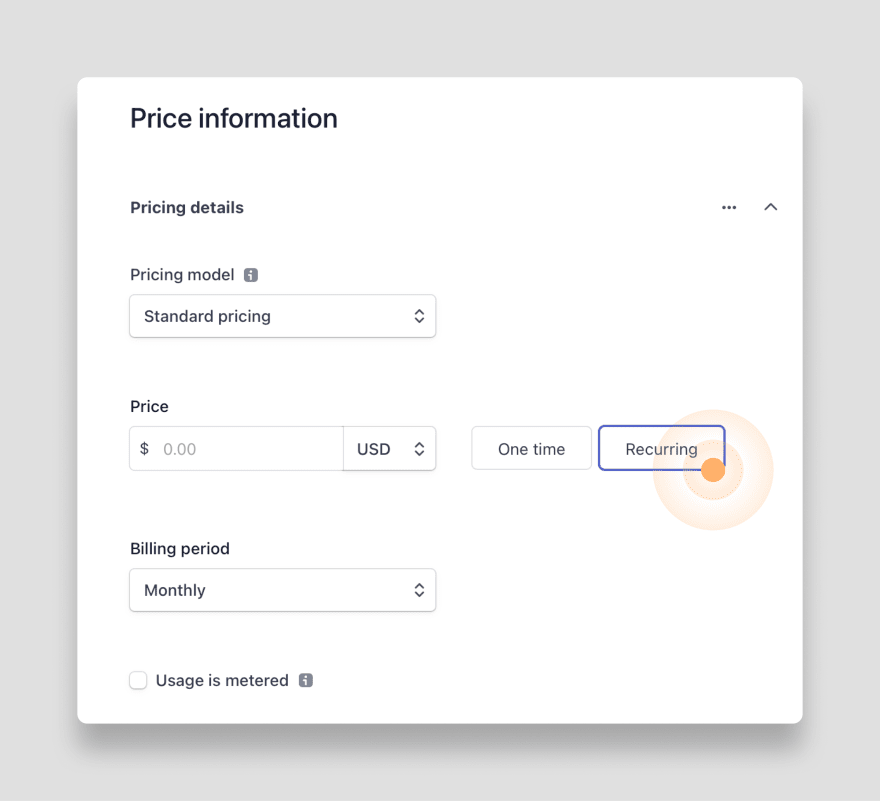 Create recurring product