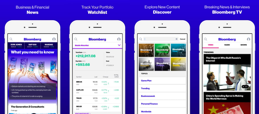 Bloomberg iOS and Android apps are built with React Native