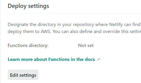 Function deploy settings in Netlify