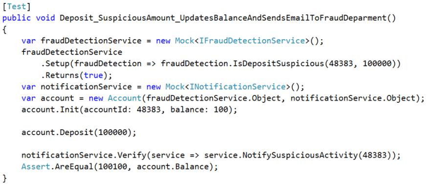 suspicious deposit test