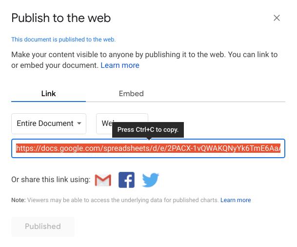 publish the sheet
