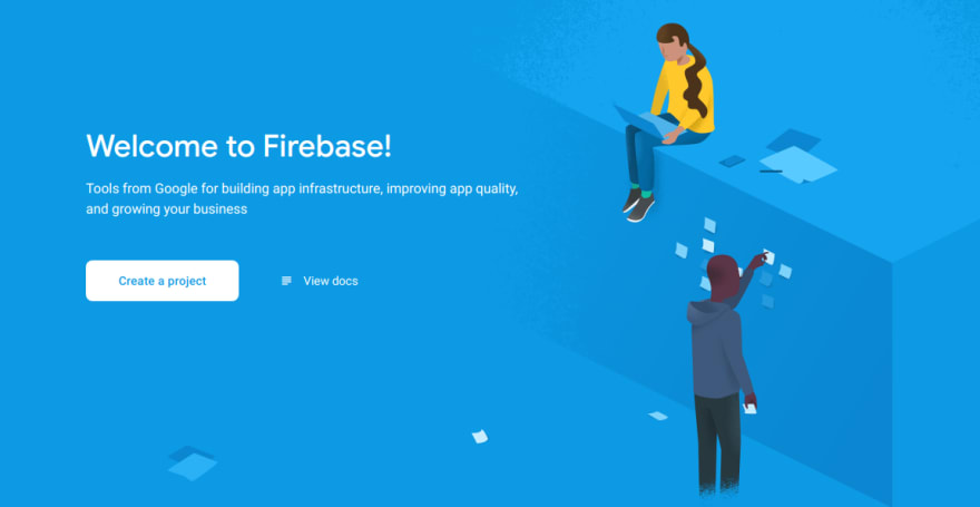The Firebase console where a project can be created.